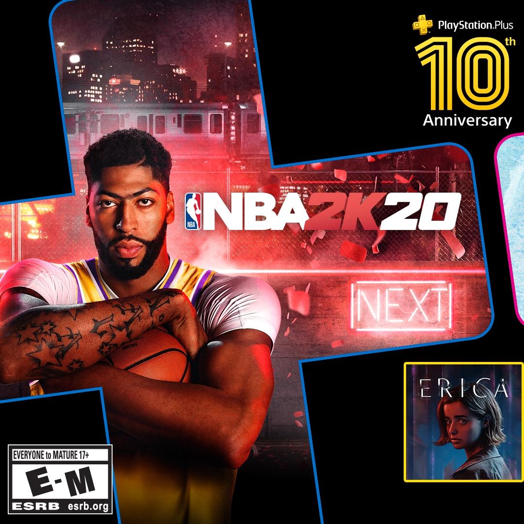 [Abonnés PS+] NBA 2K20, Rise of the Tomb Raider & Erica offerts en Juillet sur PS4 (dématérialisés)