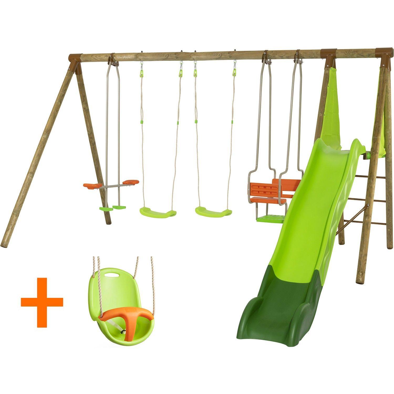 Portique en bois Xolti Trigano 7 enfants + Toboggan - 2.30 m, Siège bébé inclus