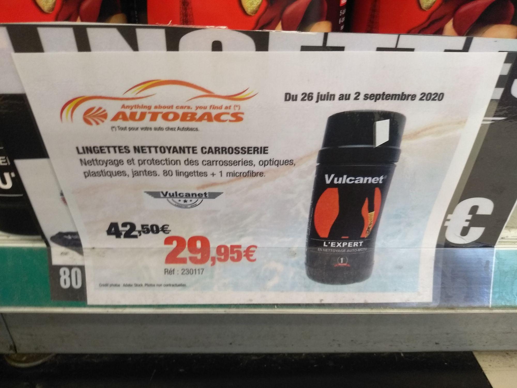Boîte de 80 lingettes nettoyantes auto Vulcanet + 1 chiffon en micro-fibres - Autobacs Coignières (78)