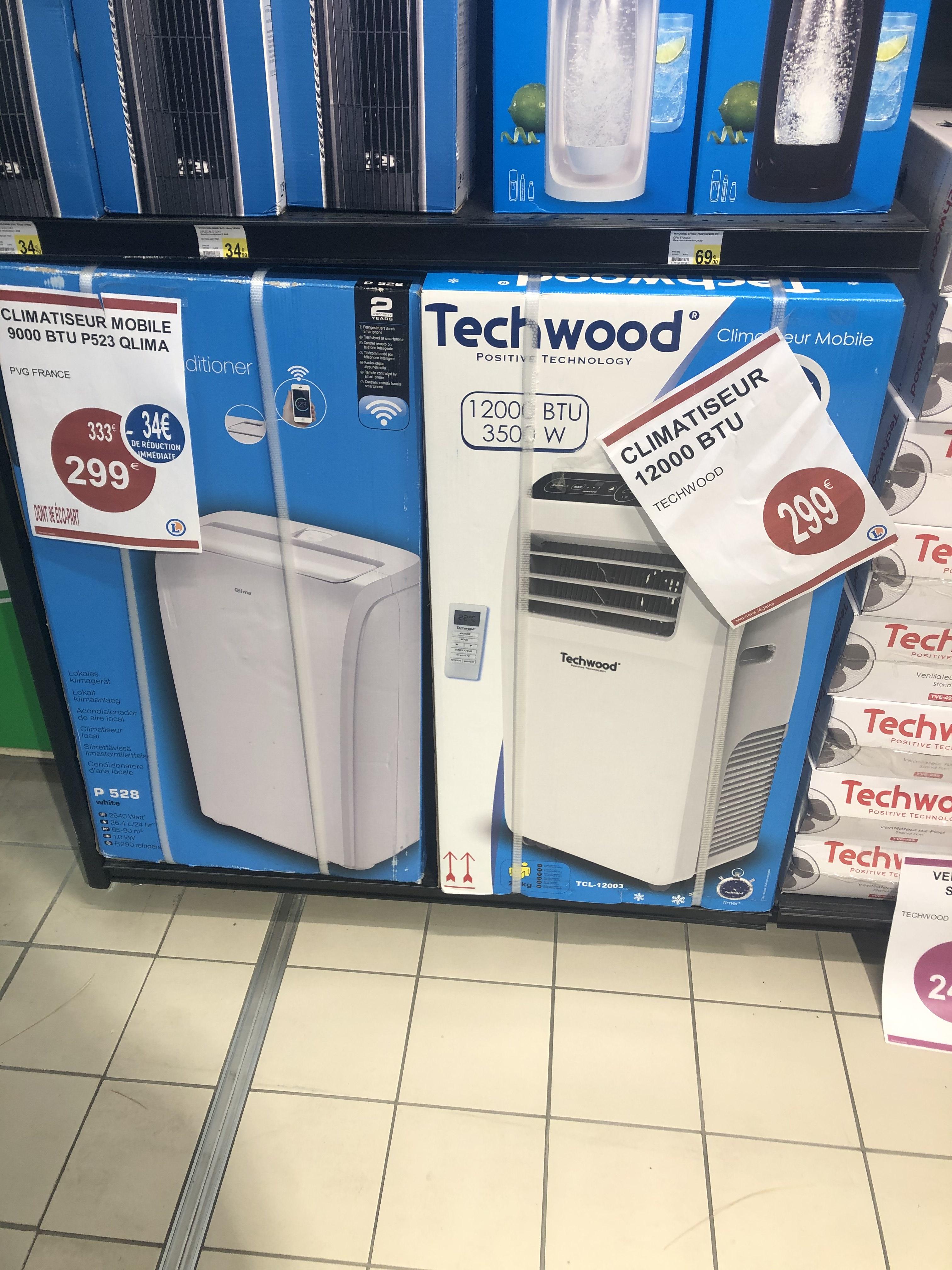 Climatiseur mobile Techwood - 12000 BTU, 3500W - Pantin (93)