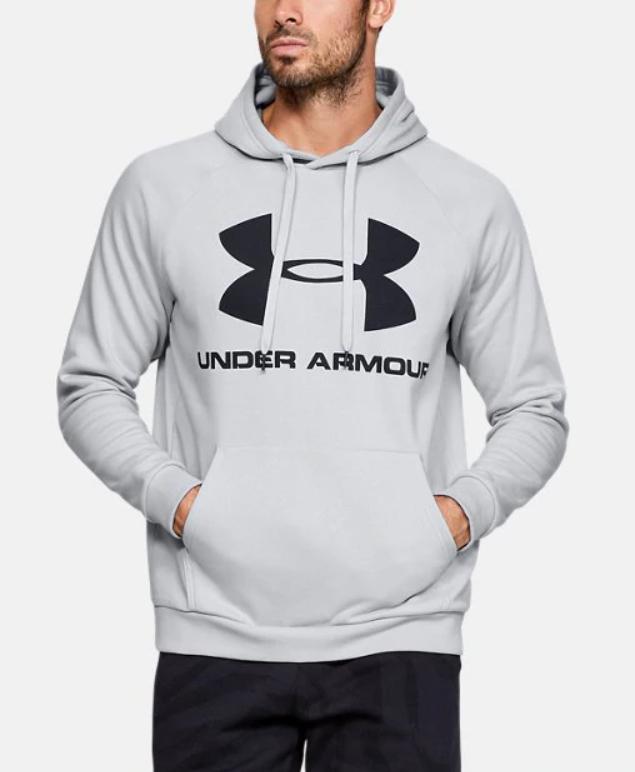 Sweat à capuche UA Rival Fleece - Gris, Tailles au choix