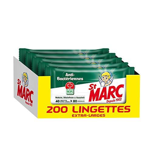 Lot de 5 paquets de 40 lingettes St Marc Anti-Bactériennes - 5x40