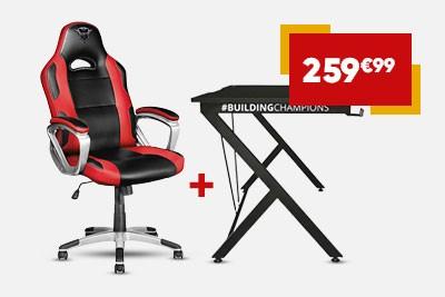Pack Trust - chaise de bureau Gaming Ryon GXT 705 (noir/rouge) + bureau de jeu Gaming Dominus GXT 711 (noir)