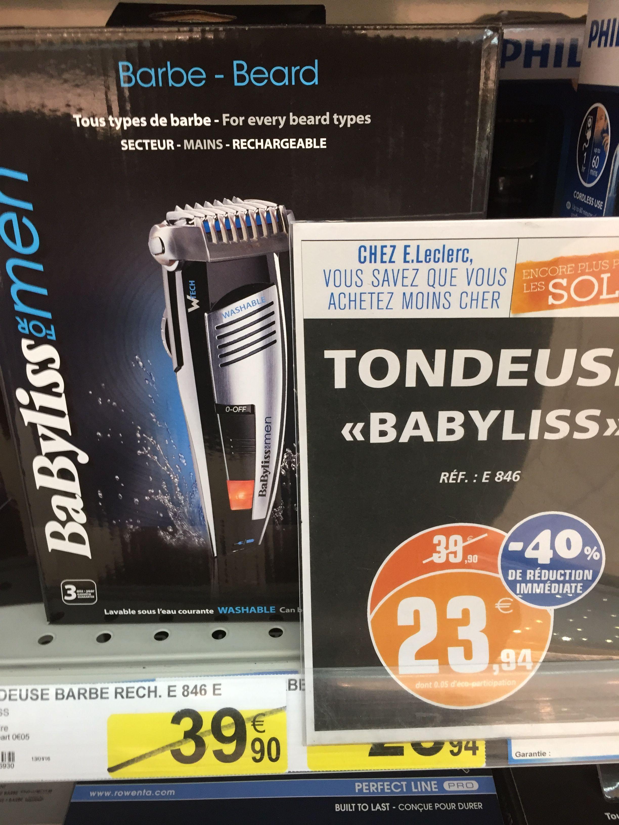 Plusieurs promotions (une douzaine) jusqu'à -40 % au rayon rasoirs / tondeuses électriques - Ex : Tondeuse électrique Babyliss E846
