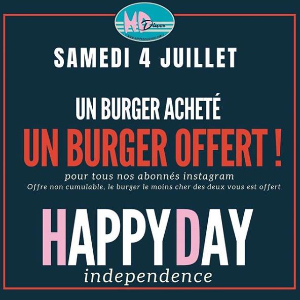[Abonnés Instagram] 1 burger acheté = 1 burger offert - HD Diner