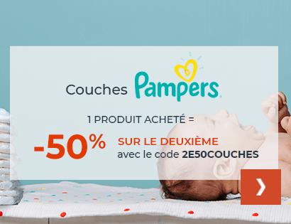 -50% sur le 2ème pack de couches Pampers acheté, soit la couche à partir de 0,08€
