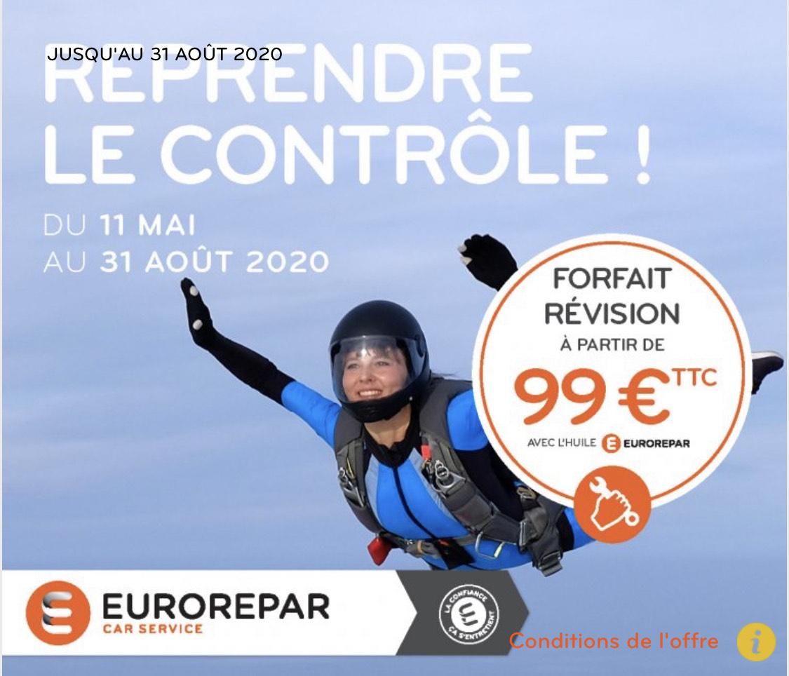 Forfait révision auto à 99€ : Remplacement du filtre à huile, Points de contrôle selon, Vidange avec huile 10W40 (eurorepar.fr)