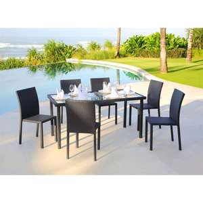 Ensemble table 180 cm + 6 chaises résine tressée