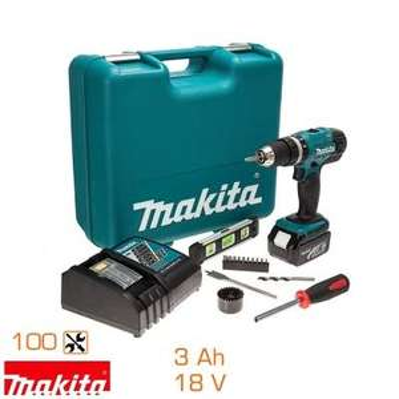 Coffret perceuse à percussion Makita DHP453RFTK 18V + 100 accessoires