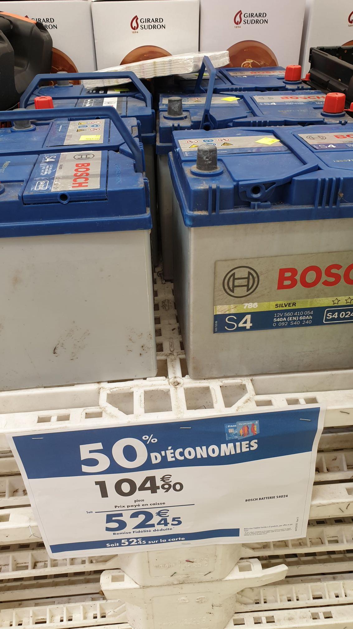Batterie auto Bosch Silver S4 A08 - 12 V, 540 A, 60 Ah (via 52.45€ sur la carte de fidélité) - La Ville-du-Bois (91)