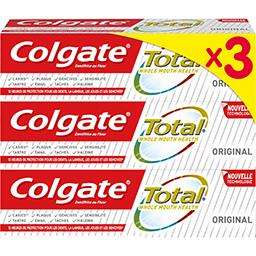 Lot de 3 tubes de Dentifrice Colgate Total - 3x75ml