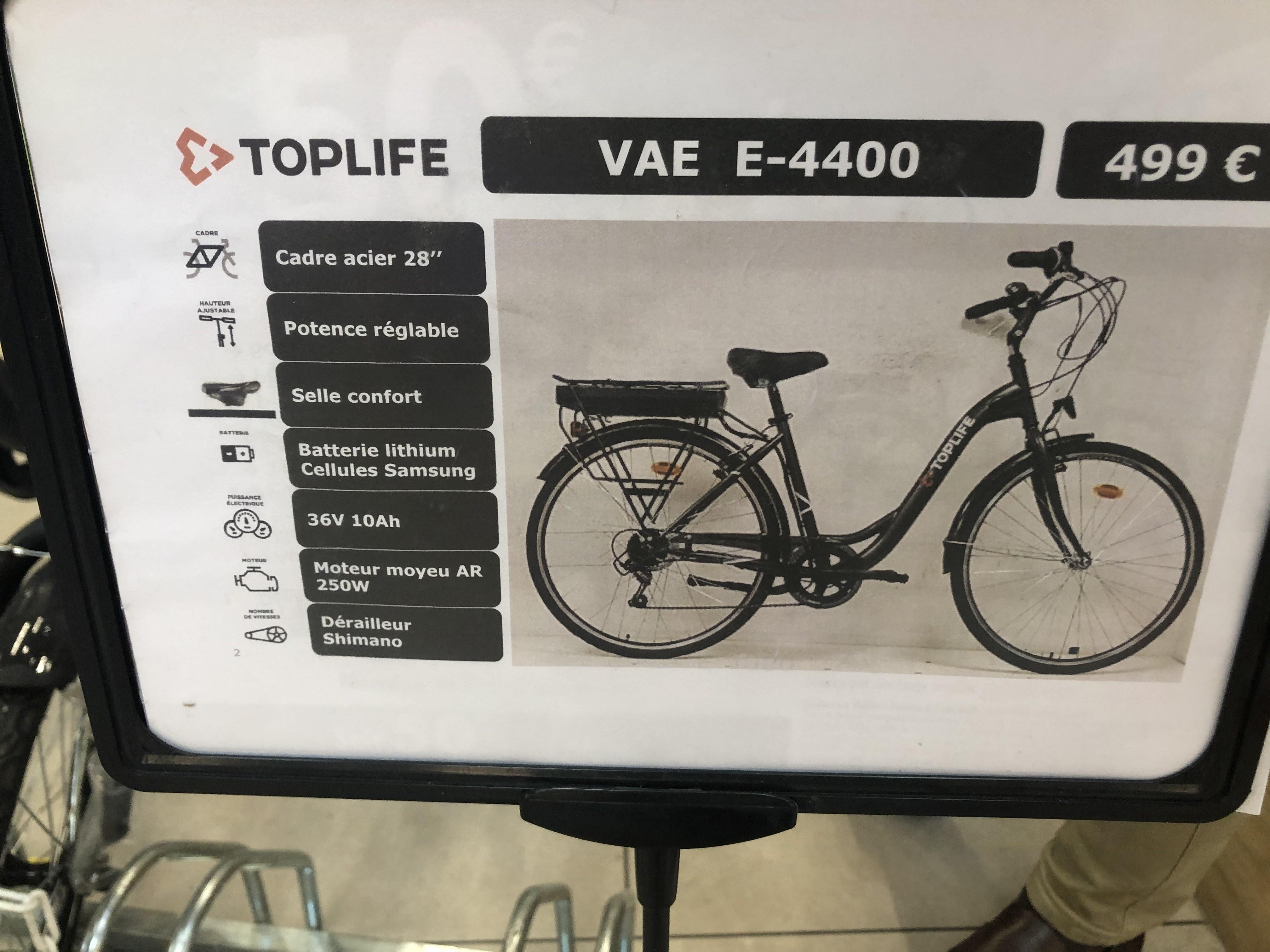 """Vélo électrique 28"""" TopLife VAE E-4400 - 36 V, 10 Ah, 250 W"""
