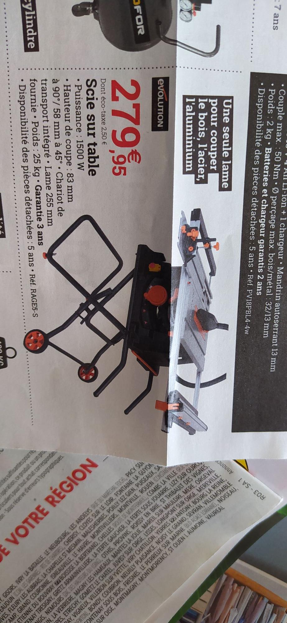Scie sur table Evolution Rage5-S 1500w - Espace Emeraude