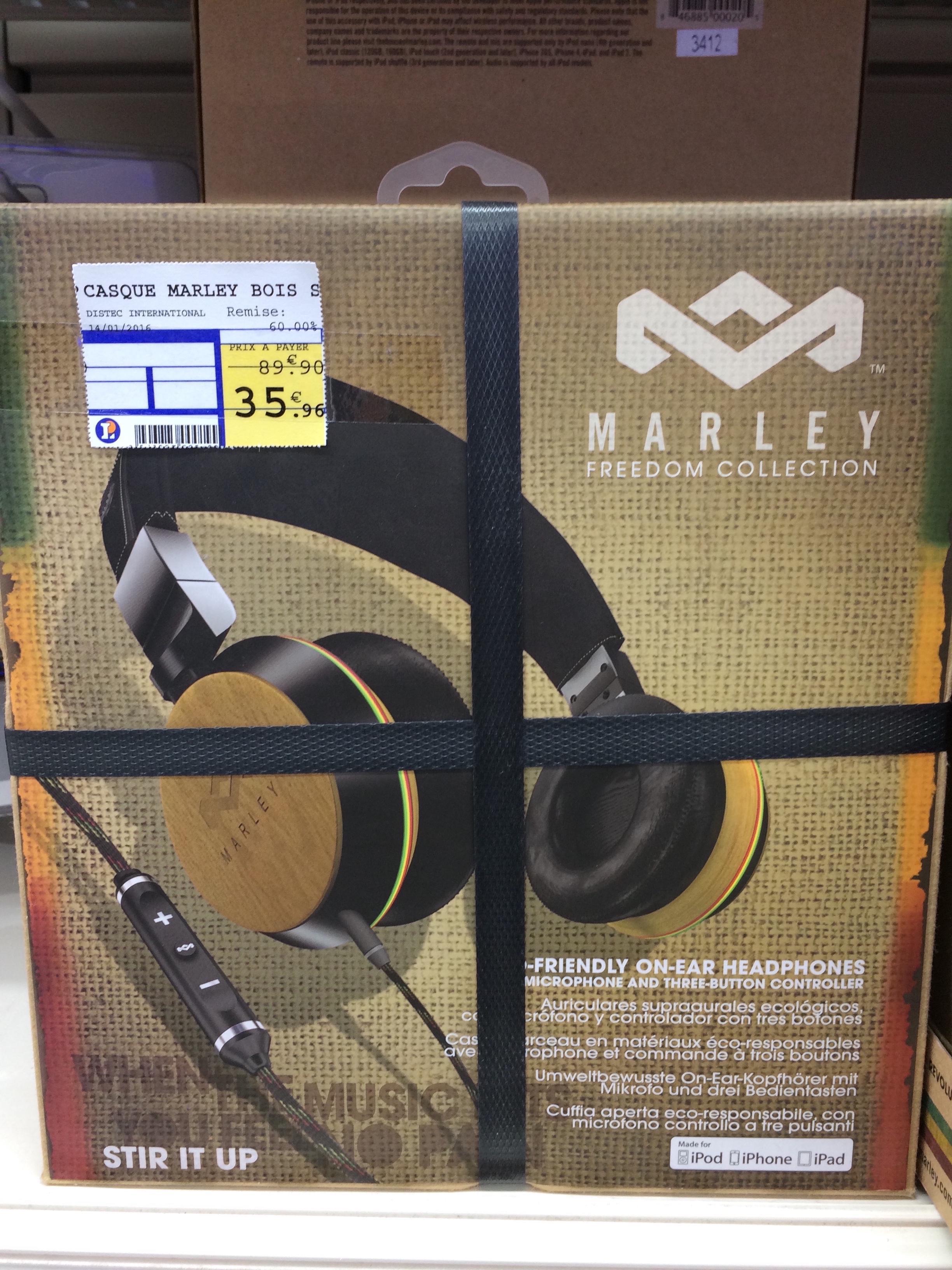 Sélections de casques audio filaires et bluetooth soldés jusqu'à -78% - Ex : Casque House of Marley Stir It Up Harvest