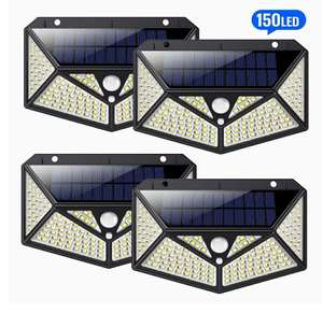 4 Lampes Solaires extérieures HETP - 150 LED, Détecteur de Mouvement