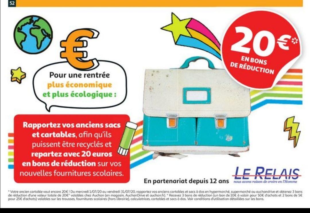1 bon d'achat de 10€ dès 50€ et 2 bons d'achats de 5€ dès 25€ d'achat sur les fournitures scolaires pour la reprise d'un ancien Cartable