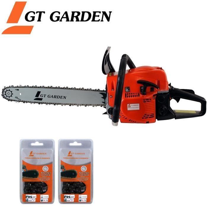 Tronçonneuse thermique GT Garden - 52 cm3, 45 cm + 2 chaînes (Vendeur Tiers)