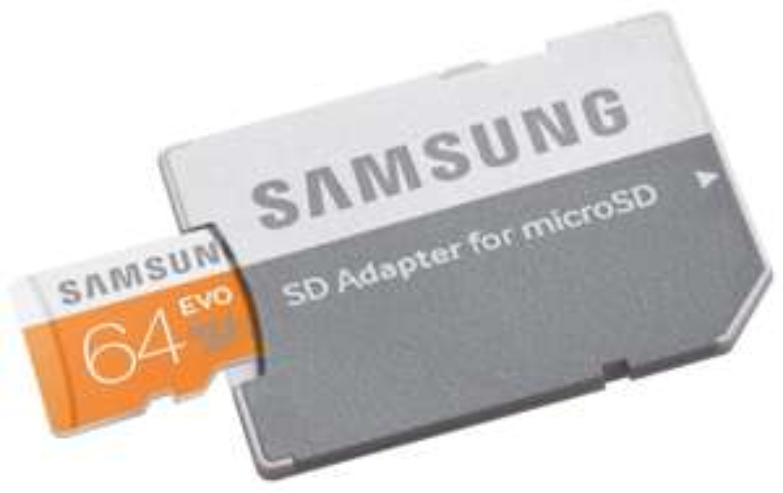 Carte mémoire microSDXC Samsung Evo UHS-I Classe 10 - 64 Go  avec adaptateur