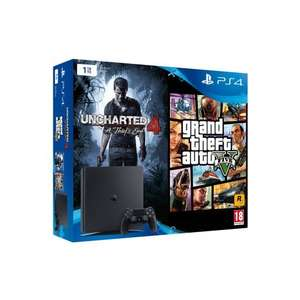 Pack console Sony PlayStation PS4 Slim (1 To, noir) + Grand Theft Auto (GTA) V + Uncharted 4: A Thief's End
