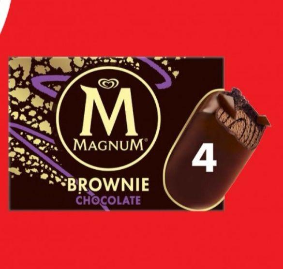 Boîte de 4 glaces Magnum Sandwich Brownie Caramel, Chocolat ou Framboise (via BDR)