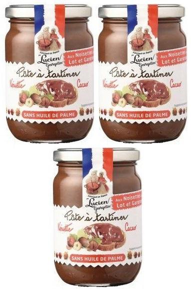 Lot de 3 pots de Pâte à tartiner sans huile de palme noisettes cacao Lucien Georgelin - 3 x 400 g