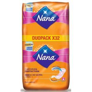 Sélection de Serviettes hygiéniques Nana Ultra à 0.77€ - Ex : 32 Serviettes Fraîcheur & Protection (via 1.82€ sur la carte de fidélité)