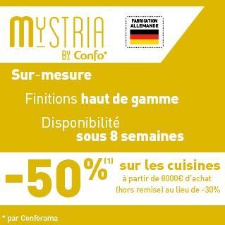 50% de réduction sur les cuisines Mystria by Confo dès 8000€ d'achat