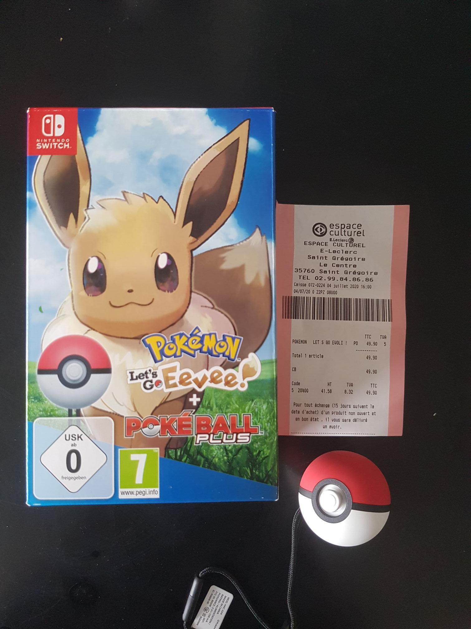 Pokémon Let's Go Evoli/Pikachu + Pokéball Plus sur Nintendo Switch - Leclerc Saint-Gregoire (35)