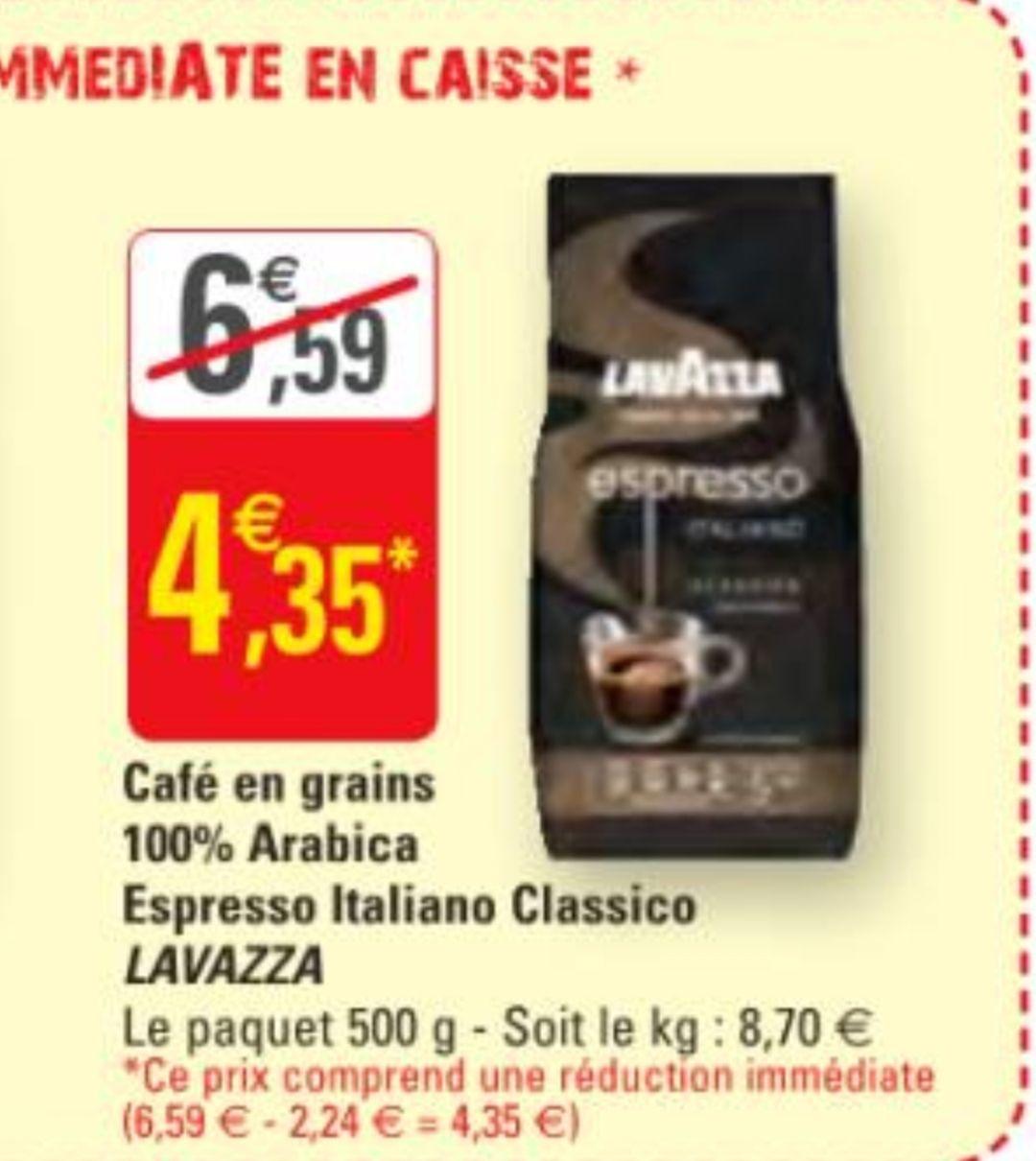 Paquet de Café en grains Lavazza pur arabica à- 500g