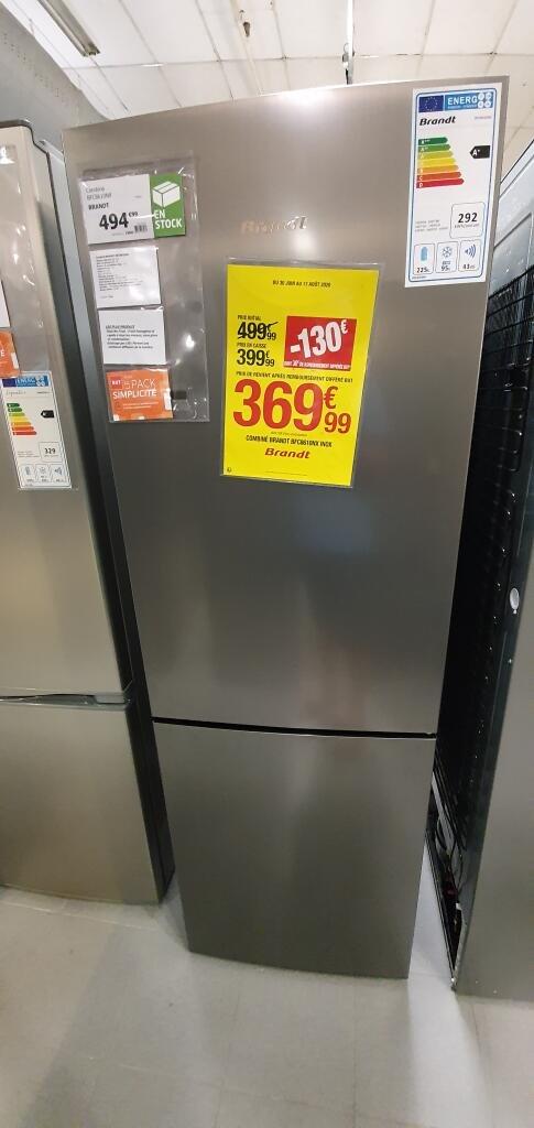 Réfrigérateur congélateur combiné Brandt BFC8610NX - 218L, No Frost, LED, 185 x 60cm, A+ (via ODR de 30€) - Toulon (83)