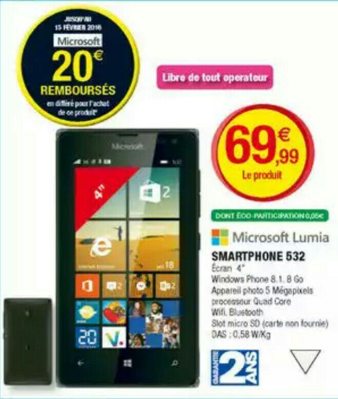 "Smartphone 4"" Nokia Lumia 532 3G+ Win 8.1 (20€ ODR)"