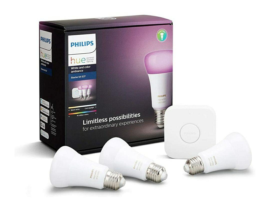 Kit de Démarrage Philips Hue White And Color Ambiance - 3 Ampoules E27, 10W + Pont
