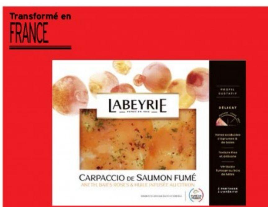 Paquet de carpaccio de saumon fumé de Norvège Labeyrie - 100 g (via BDR de 1.9€)