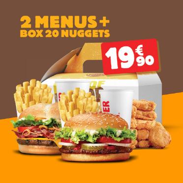 2 Menus Burger King + Box de 20 Nuggets