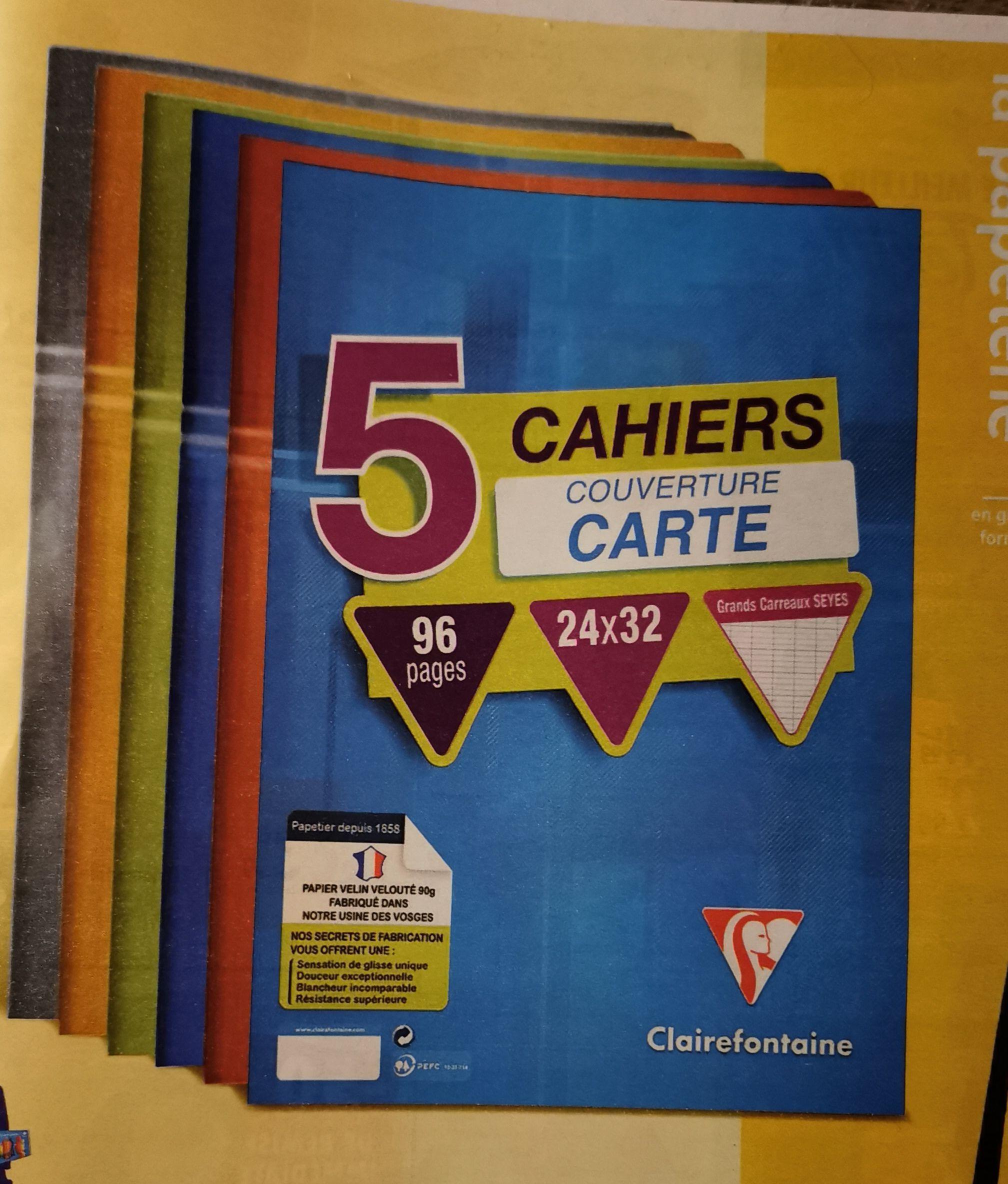 Lot de 5 cahiers 24x32cm Clairefontaine - 96 pages, grands carreaux, couverture carte peliculée (via 4.56€ carte de fidélité)