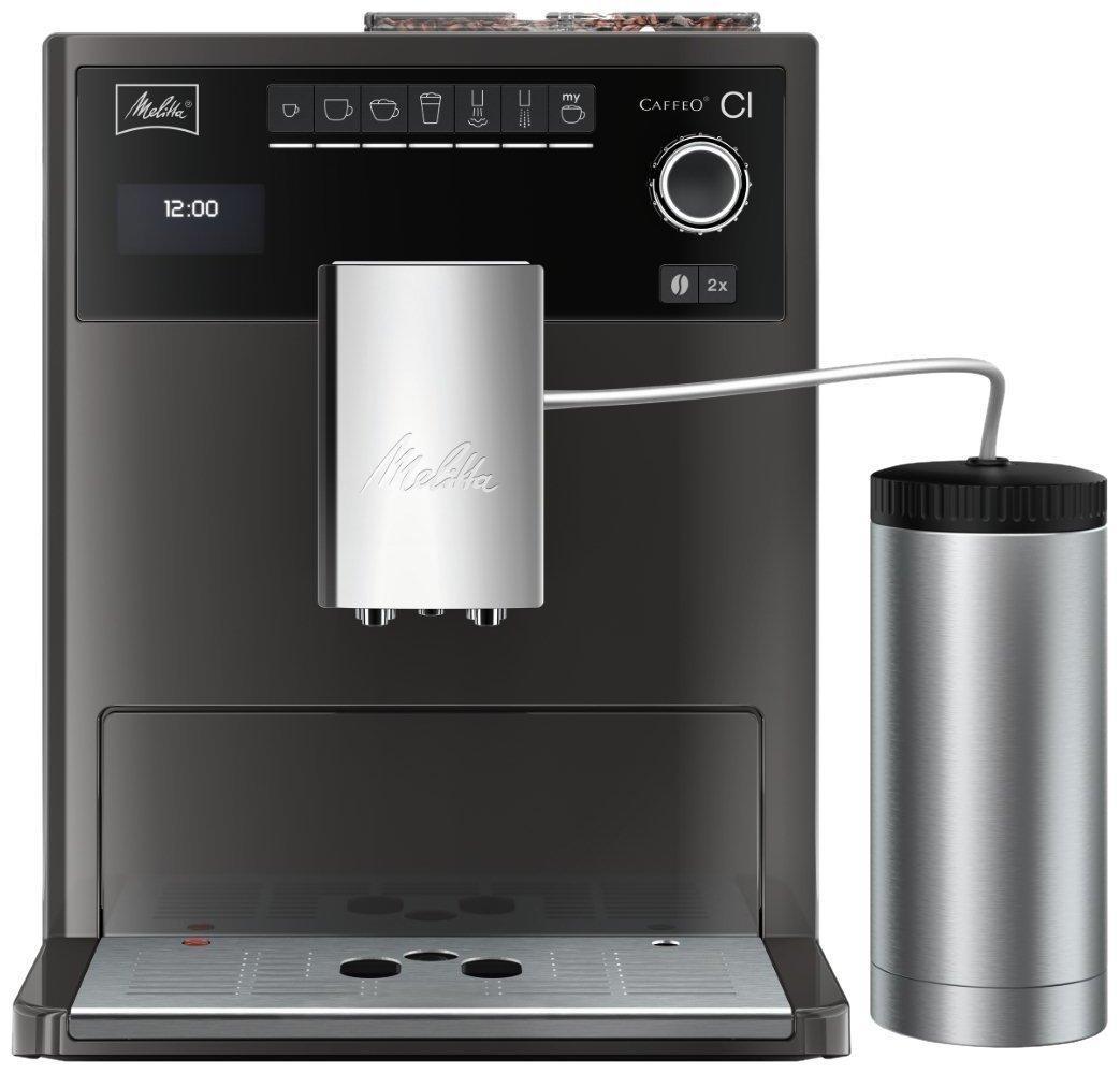 Machine Espresso avec Broyeur à Grain Automatique 15 bars (double réservoir) + Pot à lait inox Melitta E970-205
