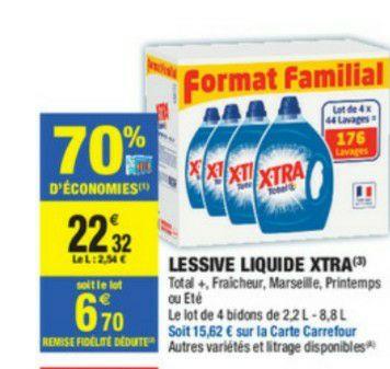 4 Bidons de Lessive liquide Xtra - 4x44 lavages (via 15.62€ sur la carte de fidélité)