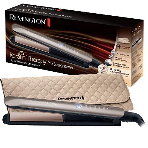 Fer à Lisser Remington S8590 Keratin Therapy Pro - Plaques Céramique Avancée, Chauffe Rapide, Lissage Professionnel, 5 Températures
