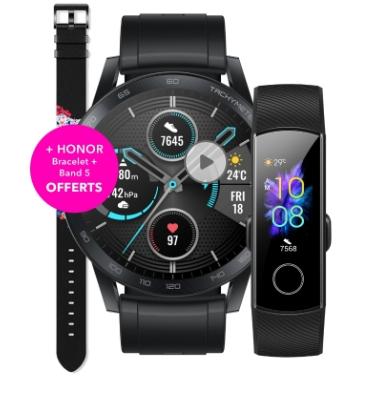 Montre connectée Honor Magic Wat + 2e bracelet+ écouteurs/enceinte bt/Bracelet connecté Honor Band 5 offerts
