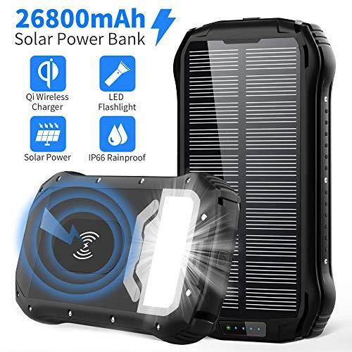 Batterie Externe Solaire GRDE - 2 USB / 1 USB type C et recharge sans fil, 26800mAh recharge avec prise domicile(Vendeur tiers)