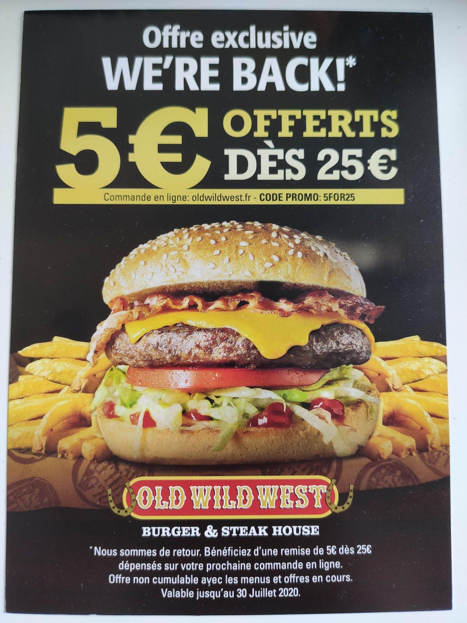 5€ de réduction dès 25€ d'achat (hors menus et offres en cours) - oldwildwest.fr