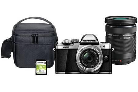 Pack appareil photo hybride Olympus OM-D E-M10 Mark II (16.1 Mpix, Live MOS) + objectifs 14-42 mm & 40-150 mm + carte SD (16 Go) + sacoche