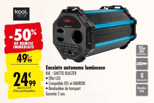 Enceinte portable Koolstar Blaster - FM/BT/USB/EQ, Noir