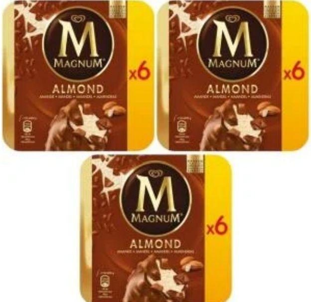 Lot de 3 boîtes de 6 glaces Magnum Différentes variétés (Via BDR)