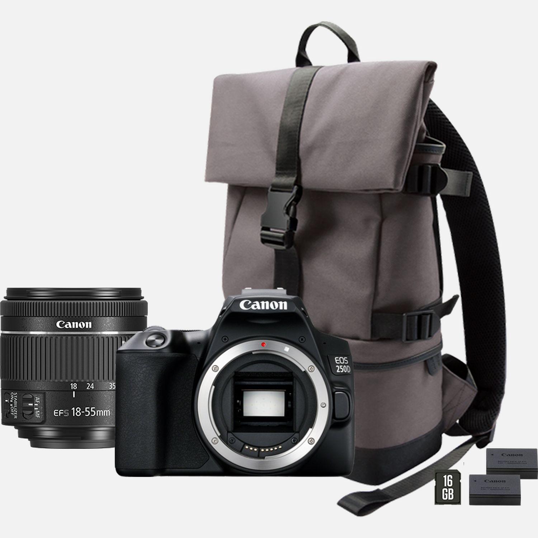 Appareil photo Reflex Canon EOS 250D + Objectif 18-55mm f/4-5.6 IS STM + Sac à dos + Carte SD 16Go + 2eme Batterie