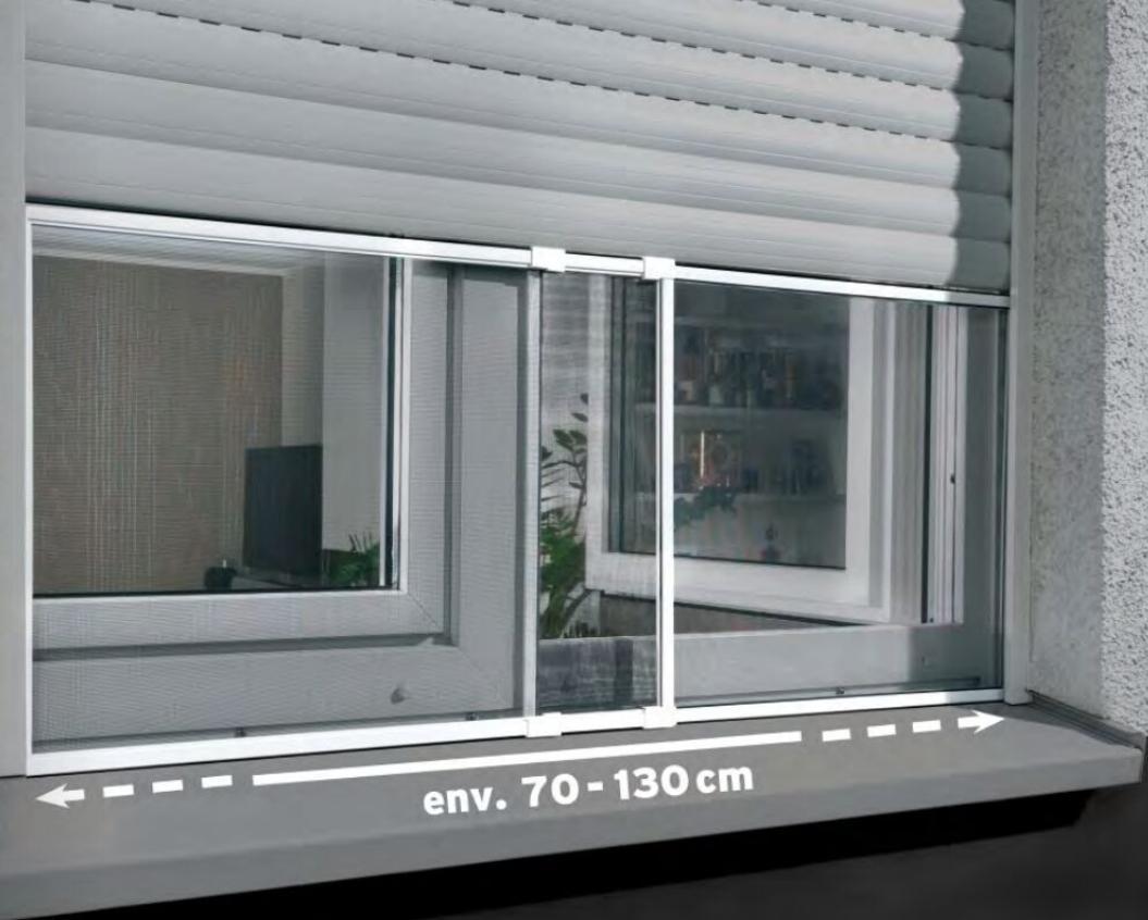 Moustiquaire coulissante adaptable pour Fenêtre - 70 à 130cm de large