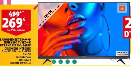 "TV 49"" Polaroid TBS494KP - 4K UHD, Barre de son JBL intégrée - Roncq (59)"