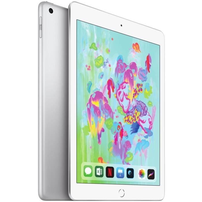 """Apple iPad Retina 9,7"""" (6ème Génération) - WiFi + Cellulaire, 32Go - Argent + 1 an d'abonnement gratuit à Apple TV+"""