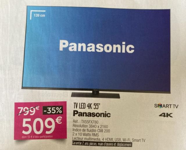 """TV LED55"""" Panasonic TX55FX780 (4K,100Hz, HDR10+) - St Parres Aux Tertres (10)"""