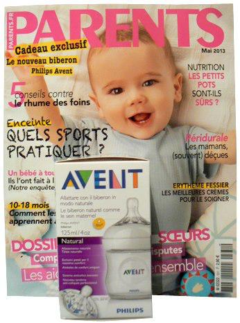 un biberon Avent de Philips offert pour l'achat du magazine Parents du mois d'Avril